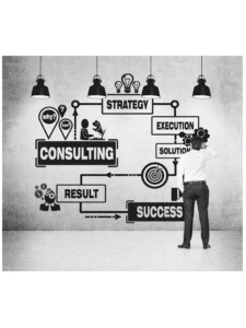 man looking at wall with writing, consulting, strategy, execution, solution, success, result, why, how