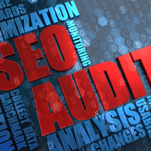 SEO Audit surrounded by SEO related words
