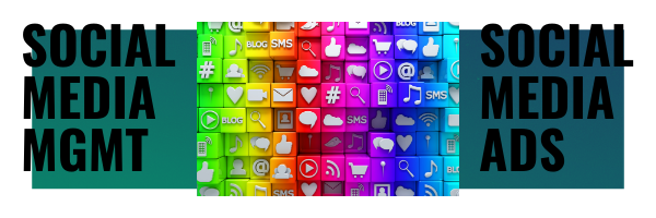 the words social media management and social media advertising with social media icons on a blue and green background, social media management by miller operations, social media advertising by miller operations