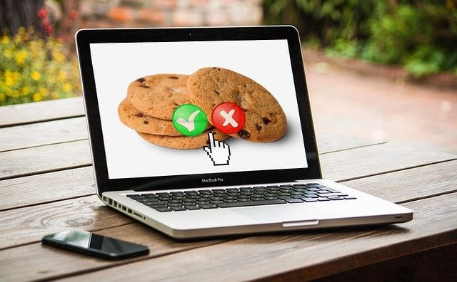 laptop with cookies on the screen with a green check mark or a red x on the cookies