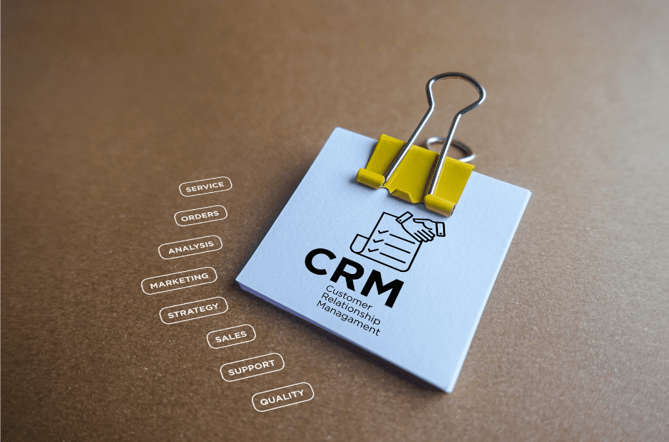crm on a post-it note, customer relationship management, service, orders, analysis, marketing, strategy, sales, support, quality
