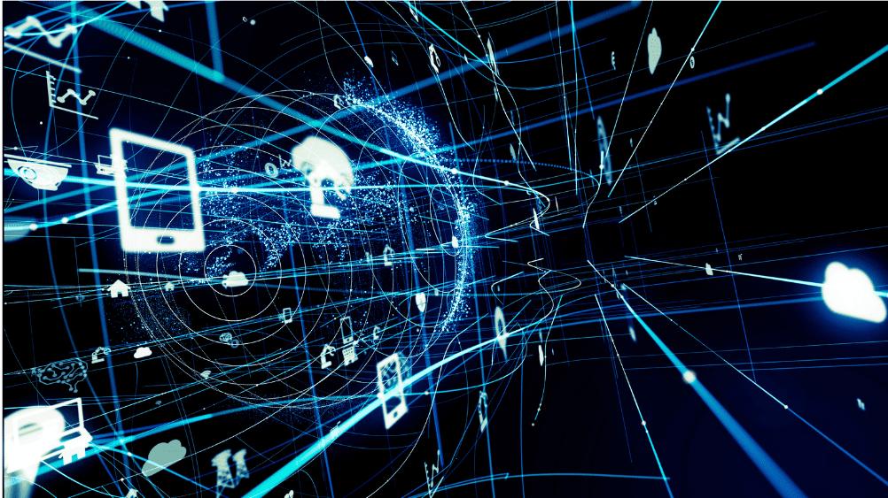 blue internet grid, devices, cloud