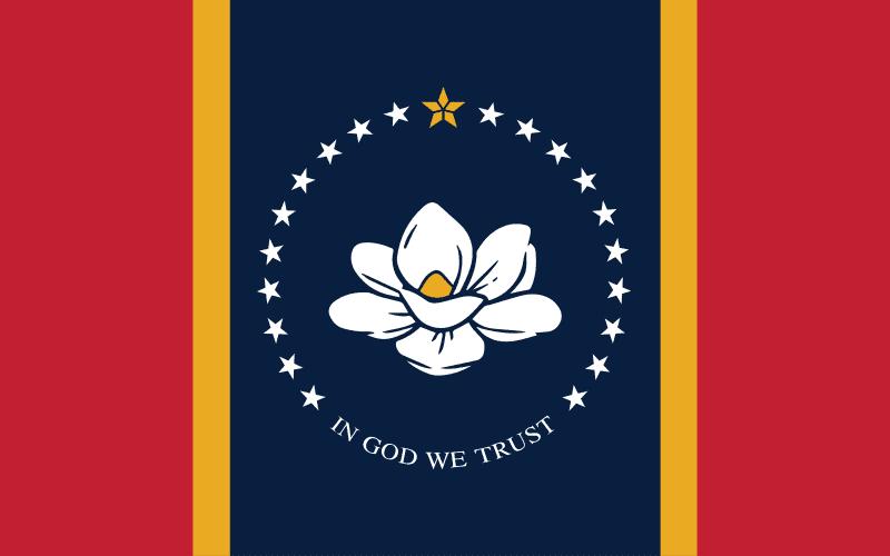Mississippi stat flag, magnolia, In God We Trust